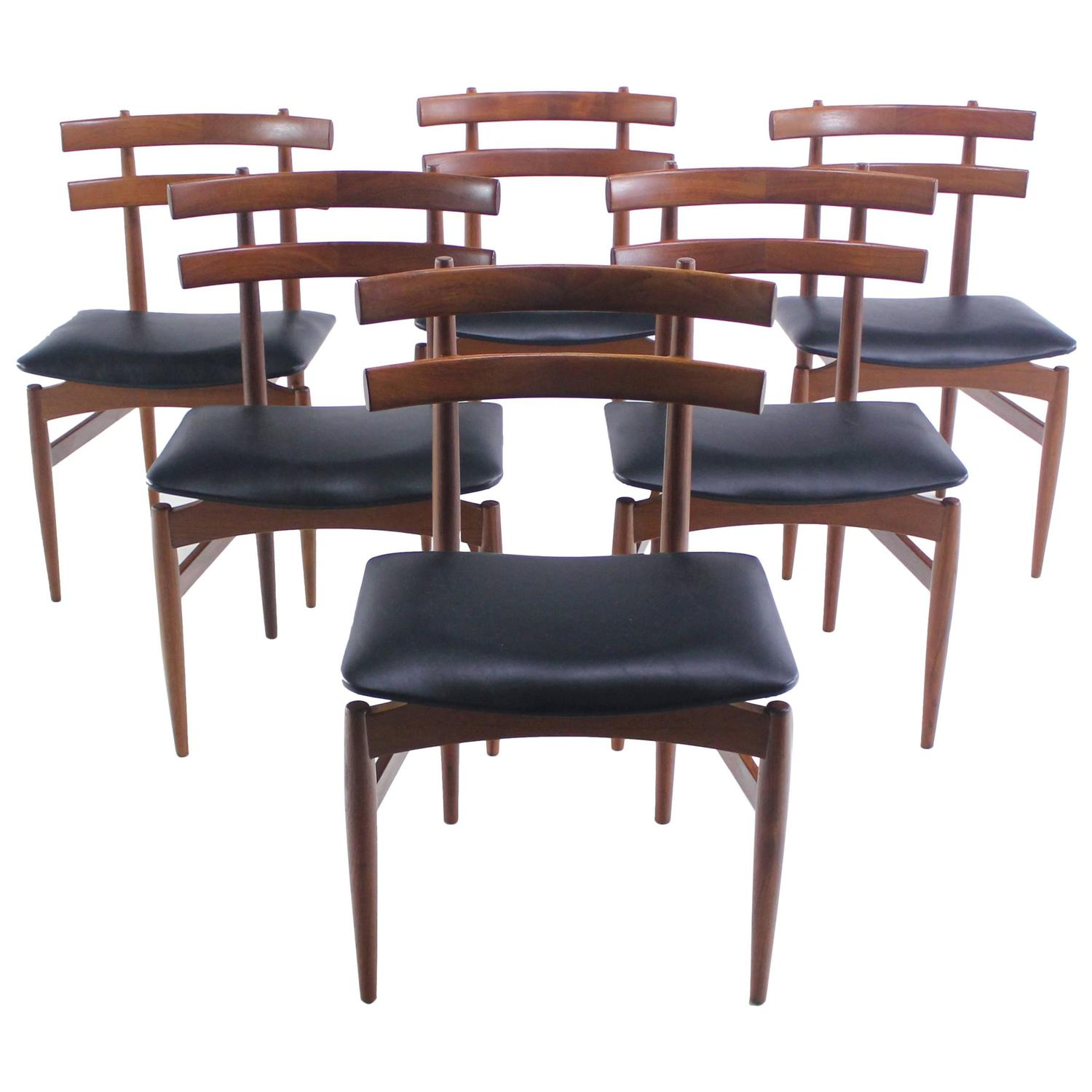 Set of six rare danish modern dining chairs designed by for Danish furniture