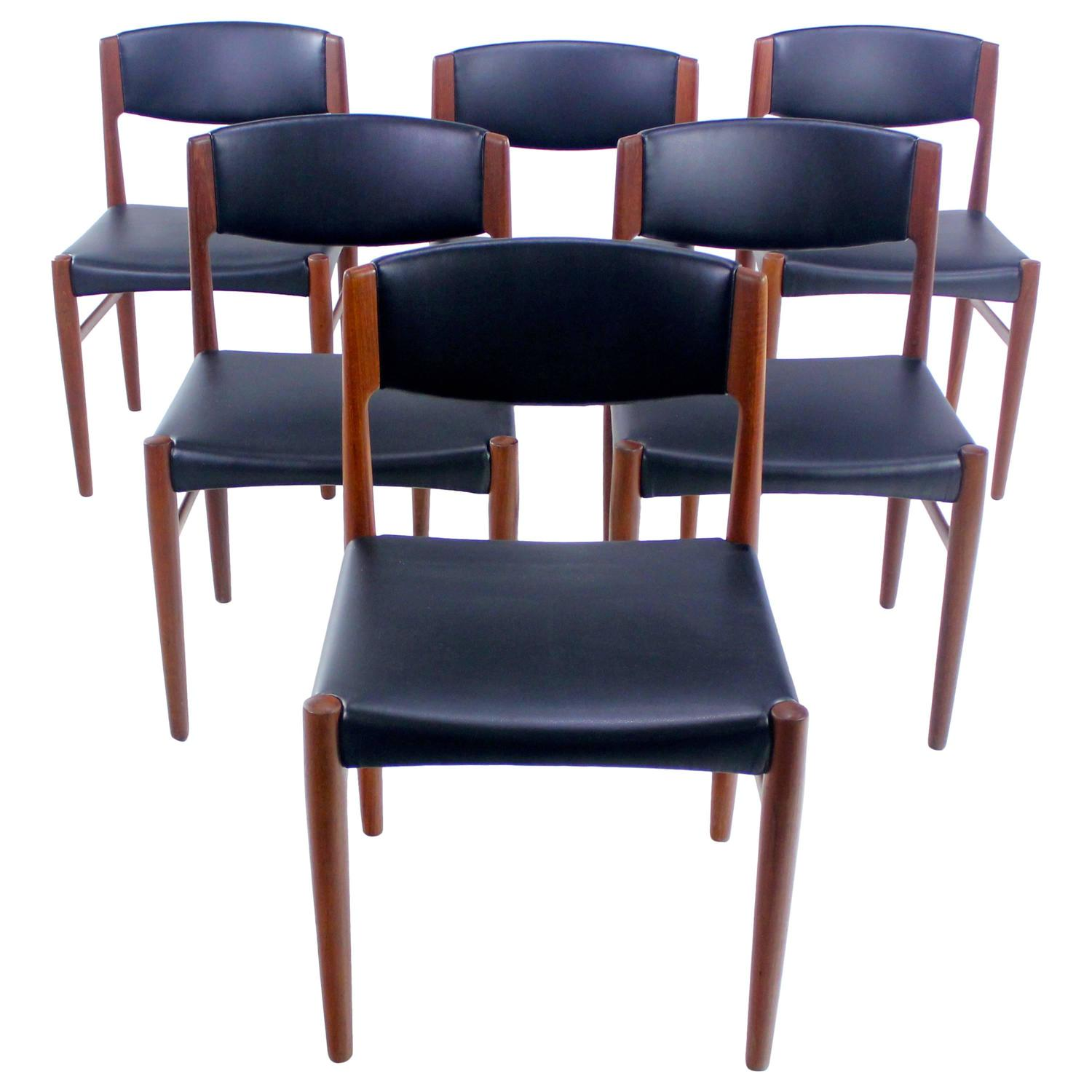 set of six danish modern teak dining chairs by glostrup mobelfabrik