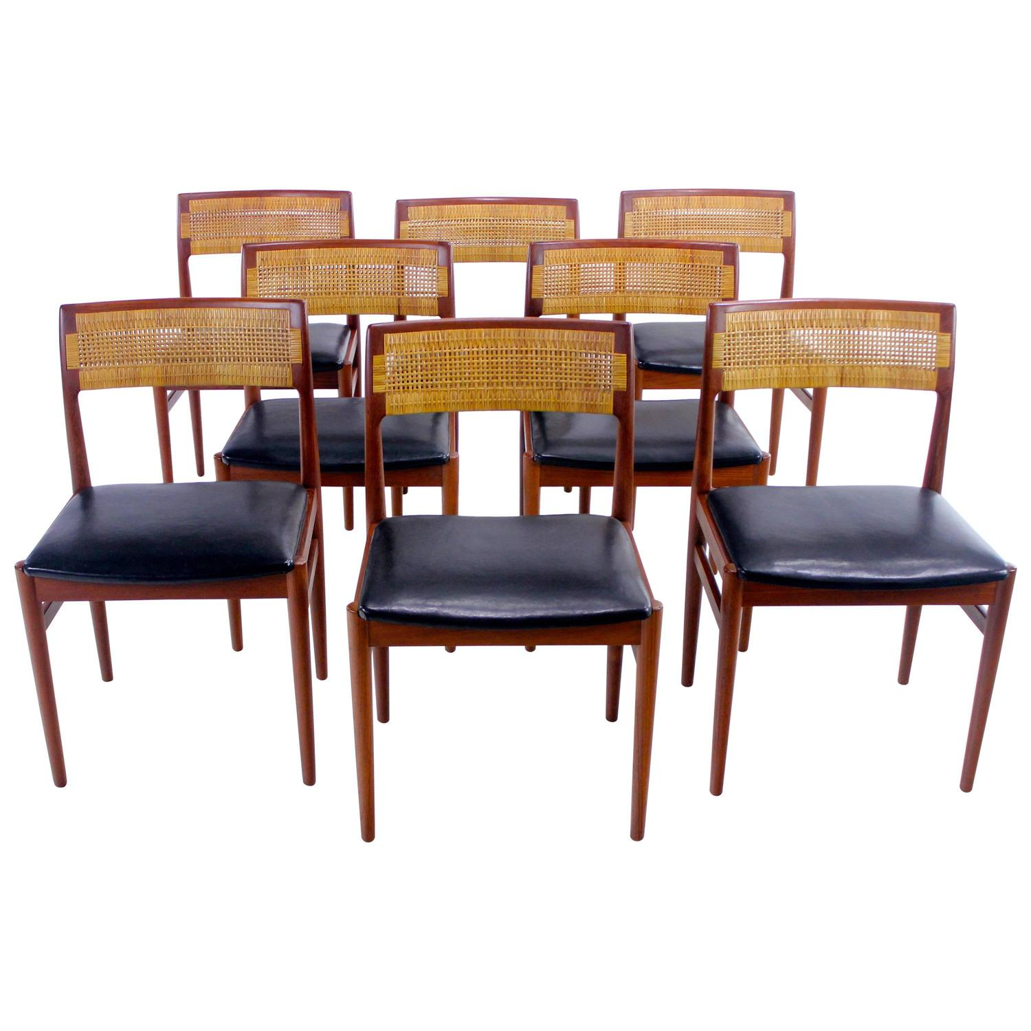 Set of eight distinctive danish modern teak dining chairs for 8 dining room chairs