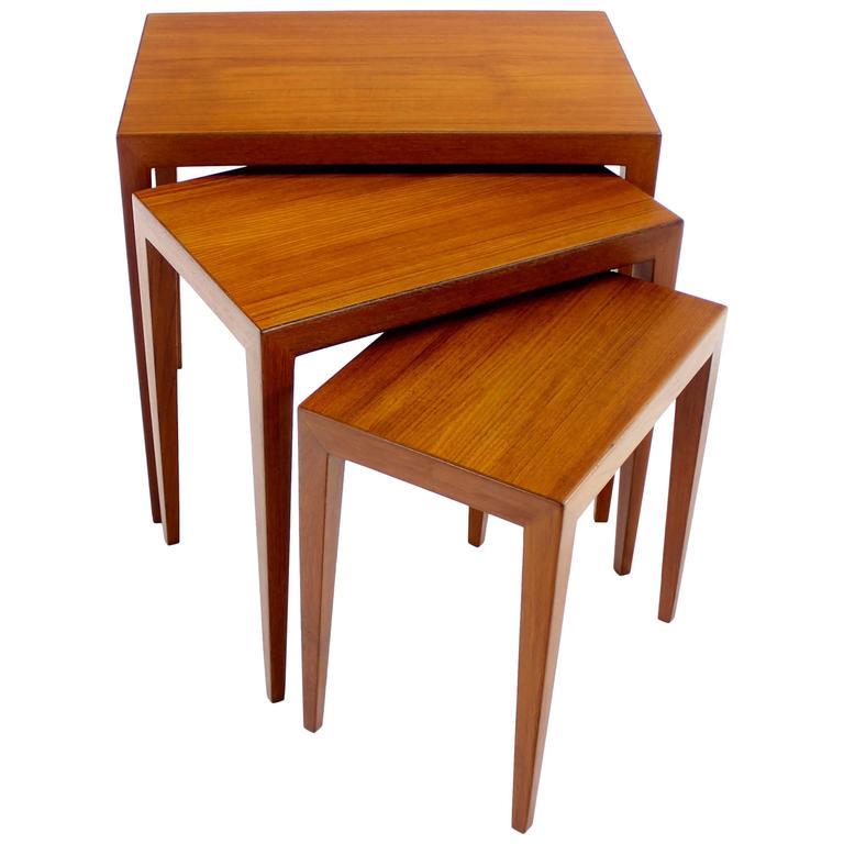 Set Of Three Danish Modern Teak Nesting Tables By Severin Hansen