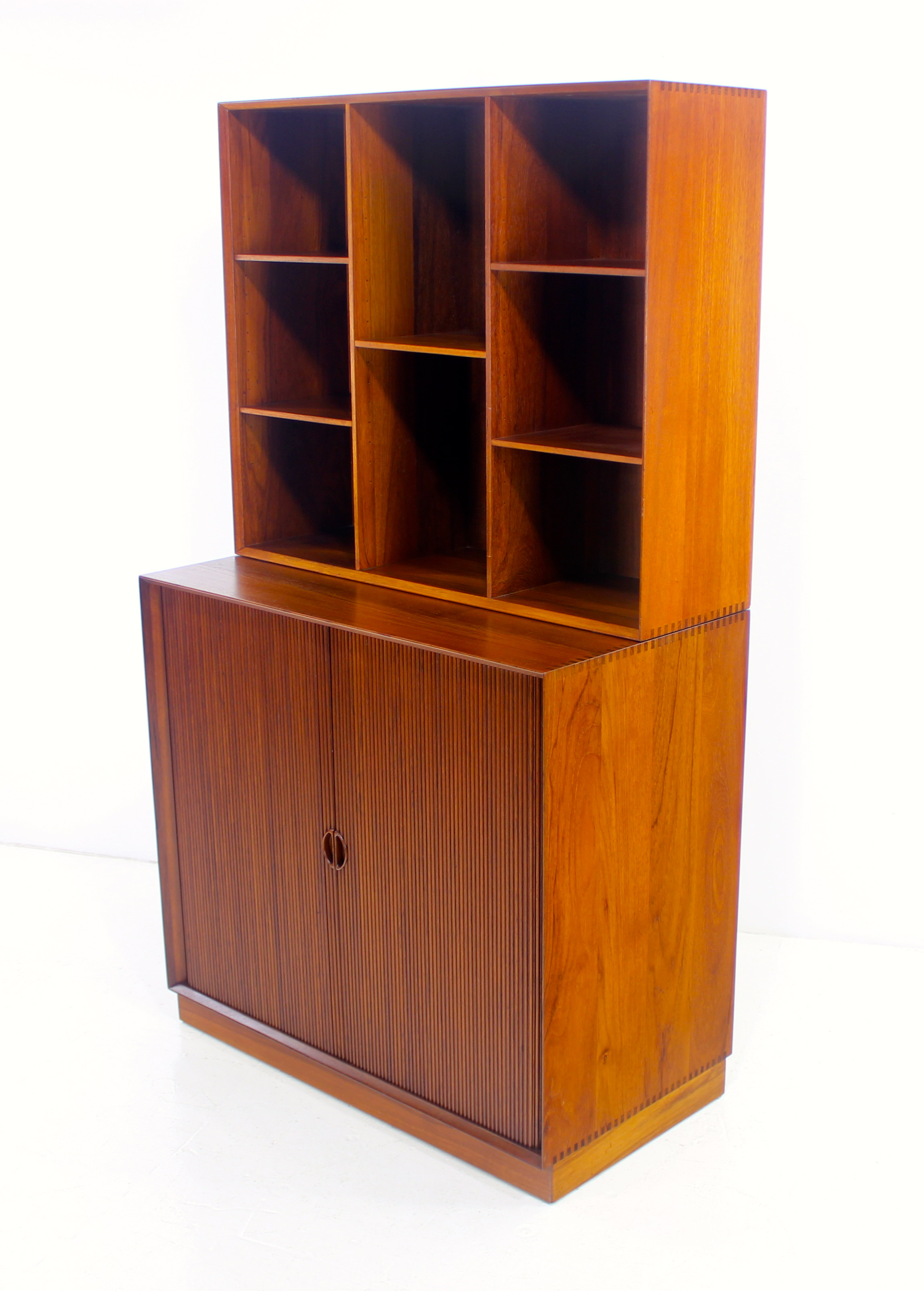 Danish modern solid teak cabinet with tambour doors for Modern teak kitchen cabinets