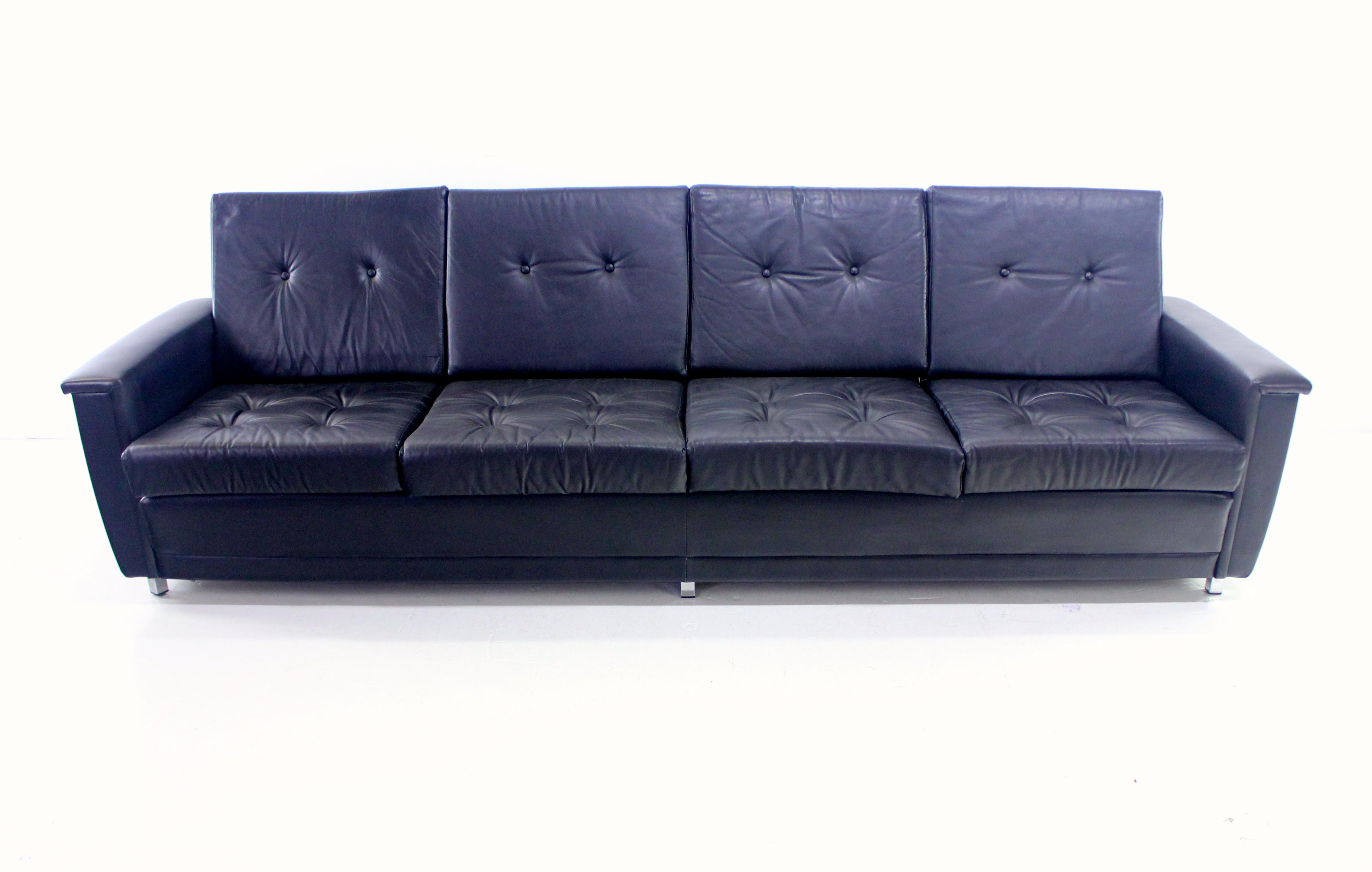 exceptional danish modern black leather sofa lookmodern