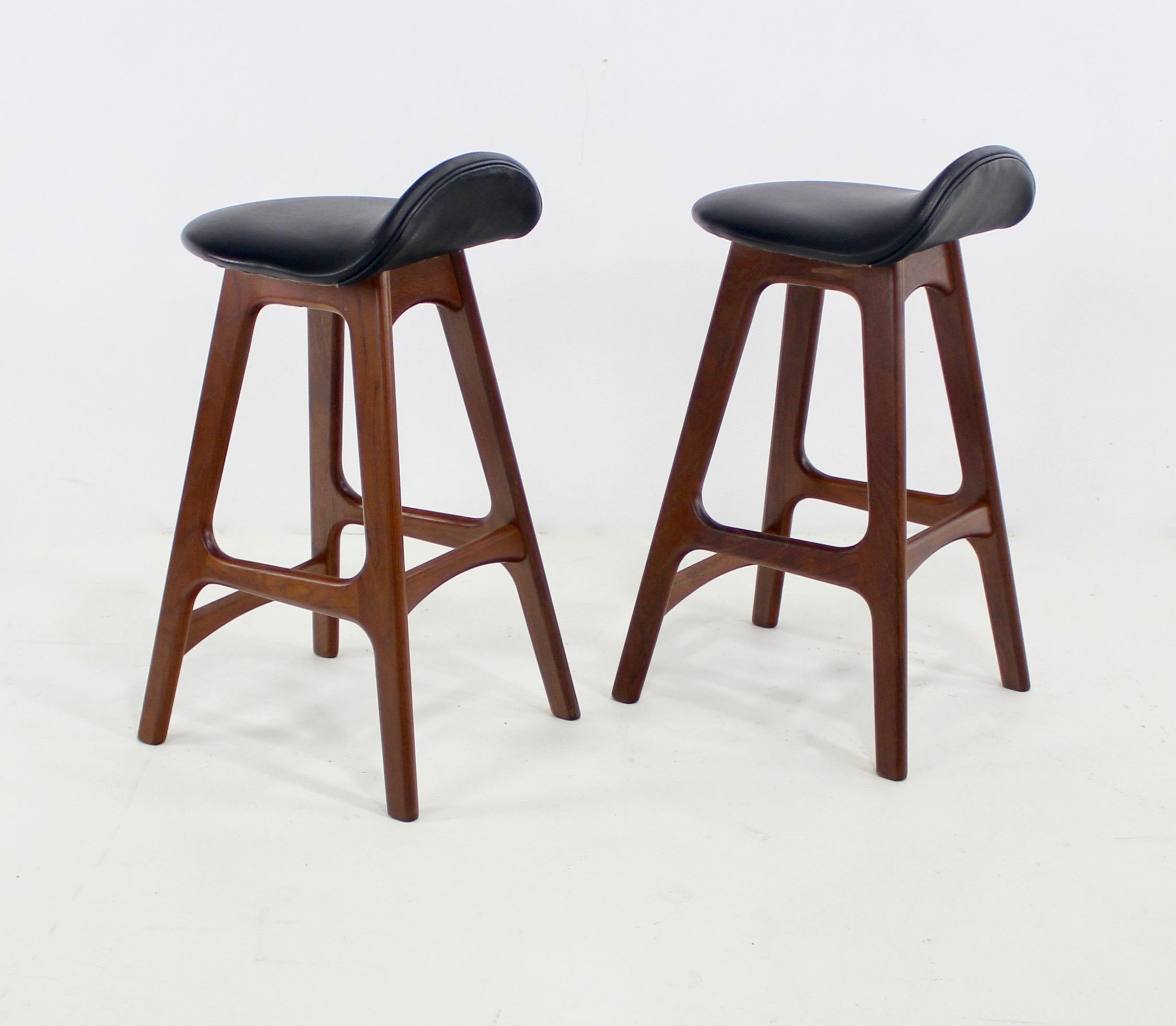 Danish Counter Seat: Pair Of Danish Modern Teak Counter Stools Designed By Erik