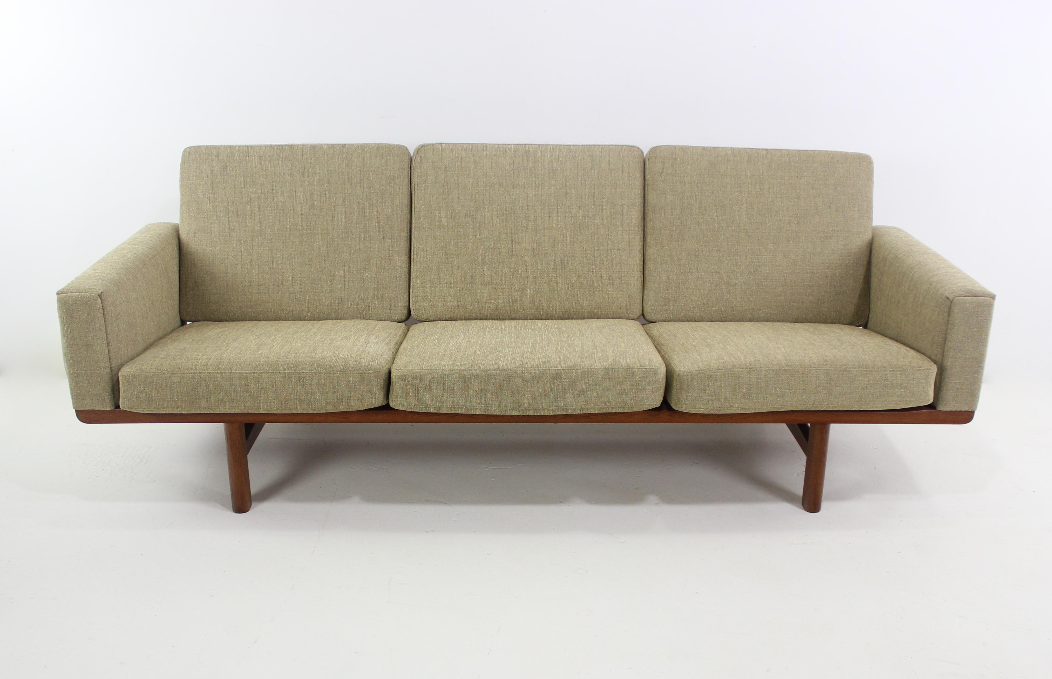 Elegant Danish Modern Oak Frame Sofa Designed By Hans