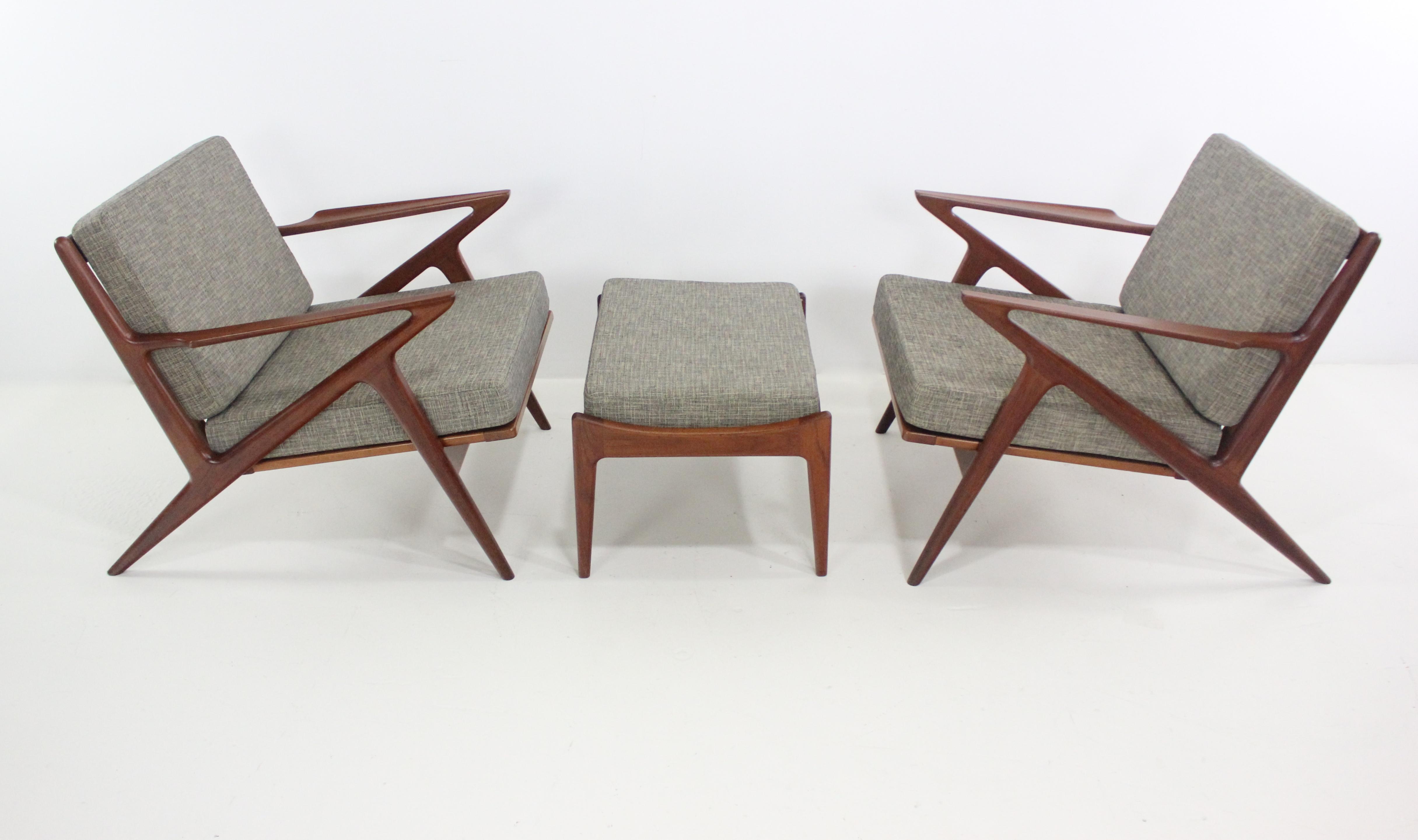 Danish Modern Z Chairs Ottoman Designed By Poul Jensen