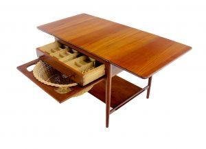 Danish Modern Solid Teak Sewing Cabinet Designed By Hans Wegner